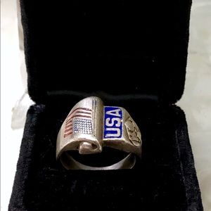 WWII Sterling Silver USA Army EAGLE size US 9 Ring